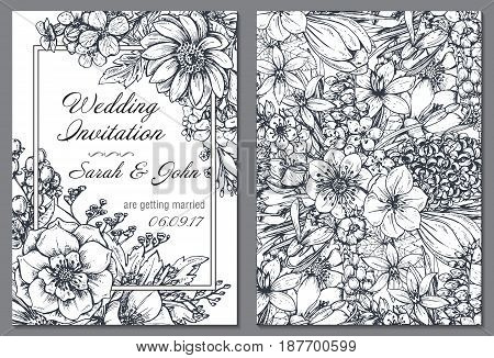 Wedding invitation with hand drawn spring flowers and plants in sketch style. Beautiful monochrome vector template.