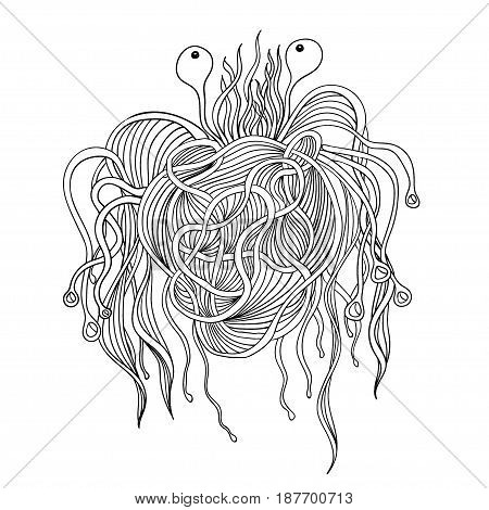 Pasta monster. Pastafarian god. Doodle isolated on white background.
