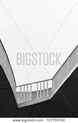 Abstract view of an urban concrete architecture photographed in black and white