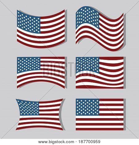 set usa flags to independence day tradition, vector illustration