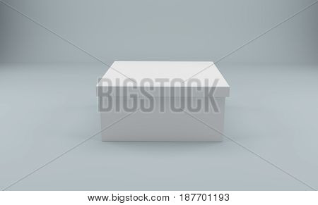 Blank closed white box isolated on white. 3D rendering.