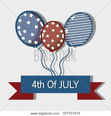 independence day with ribbon and balloons design, vector illustration