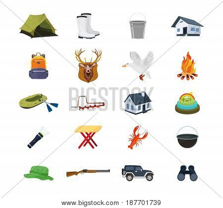 A set of hunter and fisherman objects, equipment, structures, equipment, clothing and accessories. Modern vector illustration isolated on white background.