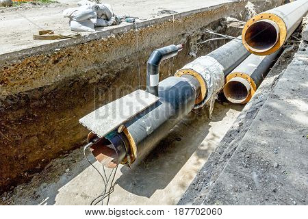View on assembled and isolated pipeline in trench