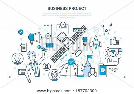 Business project, start-up, project management, control and time management, marketing, statistics, analysis, data control. Illustration thin line design of vector doodles, infographics elements.