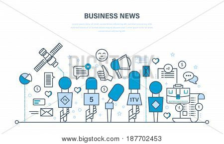 Business news, interview, press conference, technology, comments and reviews, work with data, analysis. Mass media interview concept. Illustration thin line design of vector doodles