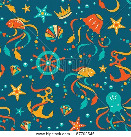 Nautical vector seamless pattern with sea animals and gems.
