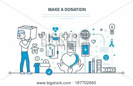 Financial donations, help to maintain health, economic status, contribution to charity. Illustration thin line design of vector doodles, infographics elements.