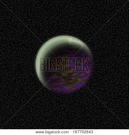 Unknown Planet Lost In The Far Corner Of Universe. A Planet With Shinning Atmosphere