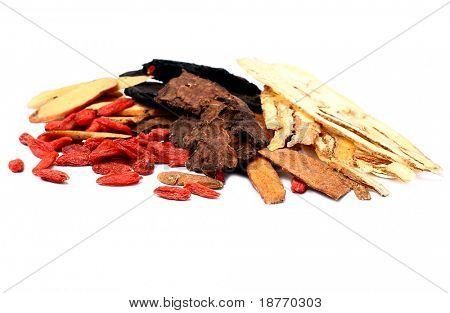 close up of traditional chinese herbal medicine
