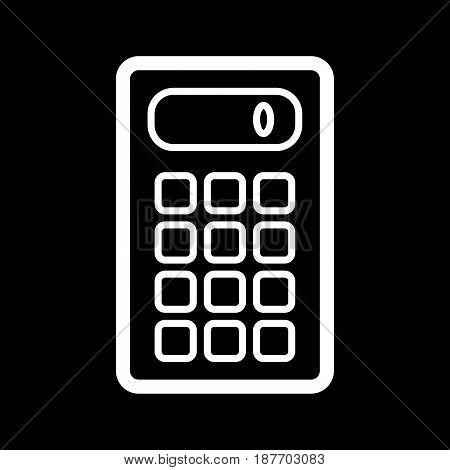Calculator vector icon. Black and white computer engineering illustration. Outline linear icon. eps 10