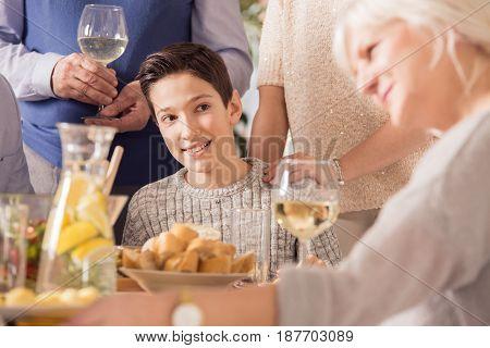 Boy Looking At Grandma