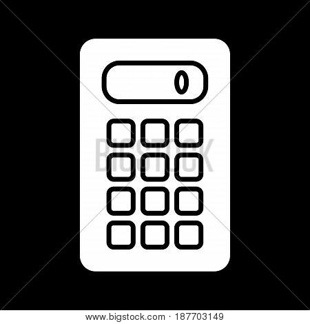 Calculator vector icon. Black and white computer engineering illustration. Solid linear icon. eps 10