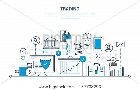 Trading, protection of trades, growth of finance and economic indicators, interaction with clients, transaction and retail. Illustration thin line design of vector doodles, infographics elements.