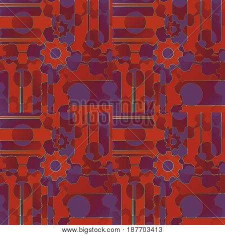 Abstract geometric background. Regular intricate pattern with gear wheals and circles in orange, red, brown and purple shades.