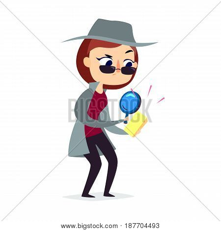 Mystery shopper woman in spy coat, boots, sunglasses and hat with magnifier checks the goods Full-length vector.