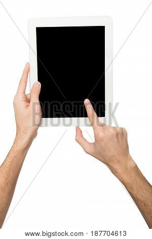 Man touching digital tablet display, cutout. Male hand holding digital tablet and pointing with index finger on blank screen, white isolated background, copy space