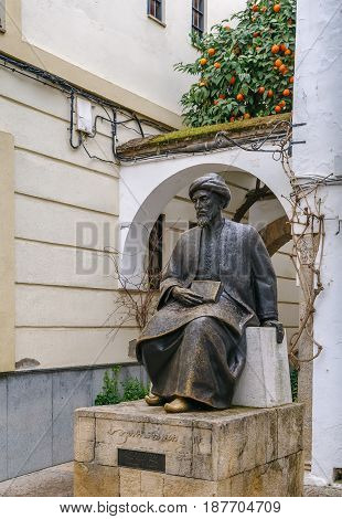 Statue of Moses Maimonides was a medieval Sephardic Jewish philosopher Cordoba Spain