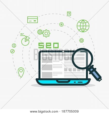 SEO flat style line vector. Laptop with website and analytics magnifying glass. Abstract SMM concept for web projects or applications. Payment globe money and other icons. Dashed line circles.