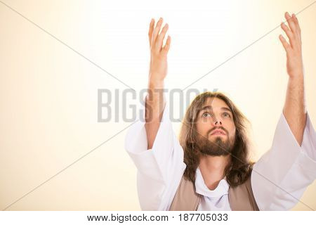 Christ Raising Hands To Heaven