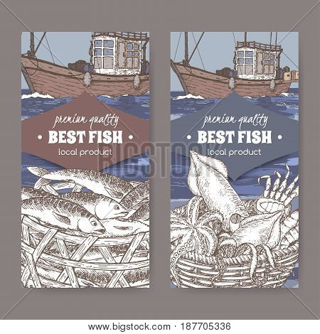 Set of two labels with fishing boat, fish and seafood basket. Great for markets, fishing, fish processing, canned fish, seafood product label design.