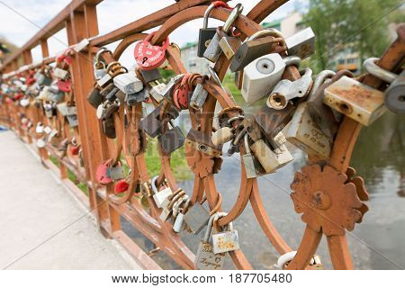 Lock Happiness On The Castle. Wedding Tradition