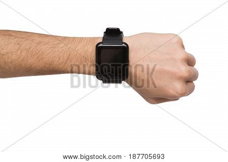 Isolated male hand with smart watch with blank screen, white background cutout. Smartwatch - modern digital gadget with empty display, copy space