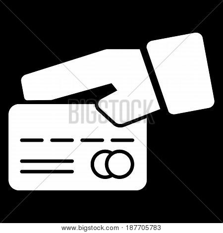 Credit card in hand vector icon. Black and white card illustration. Outline linear icon. eps 10