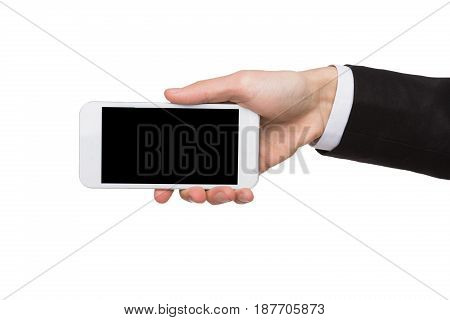 Businessman hand hold mobile phone display, cutout. Man with modern smartphone, white isolated background, copy space