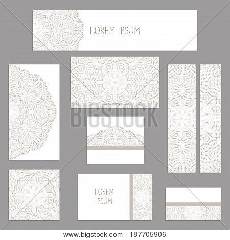 Templates for greeting and business cards, brochures, covers with floral motifs. Oriental  lace  pattern. Mandala. Invitation, save the date, RSVP.  Arabic, Islamic, asian, indian, african motifs.