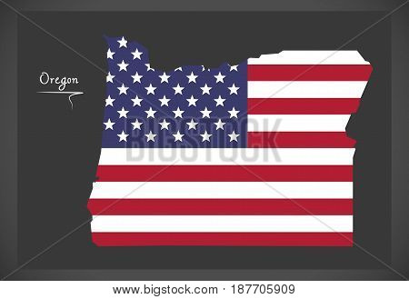 Oregon Map With American National Flag Illustration