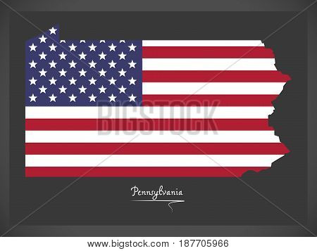 Pennsylvania Map With American National Flag Illustration