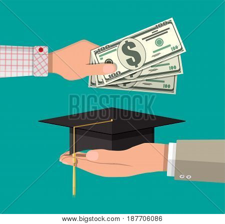 Hand with money and graduation cap. Education savings and investmet concept. Vctor illustration in flat design.