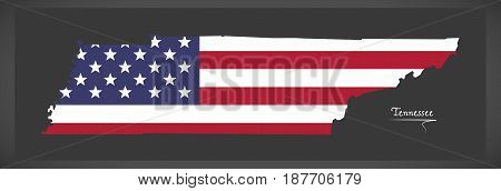 Tennessee Map With American National Flag Illustration