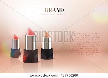 Cosmetics red lipstick. 3d illustration beautiful advertising poster.