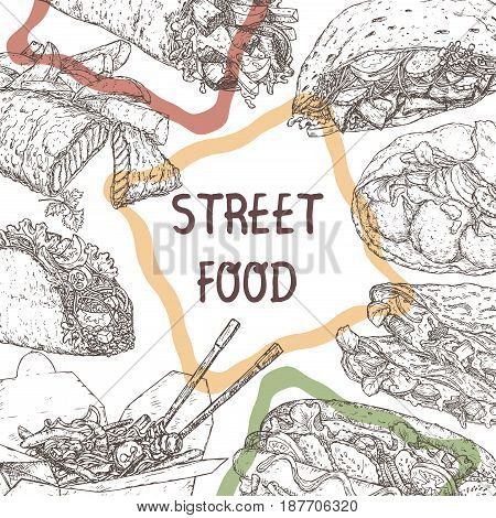 Street food template with hand drawn sketches of traditional dishes. Street food series. Great for recipe books, markets, restaurants, cafe, food label design.