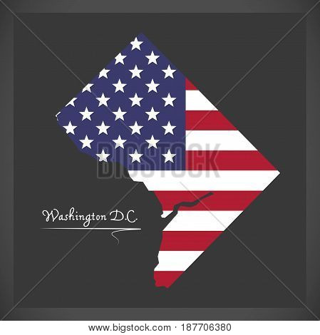 Washington Dc Map With American National Flag Illustration