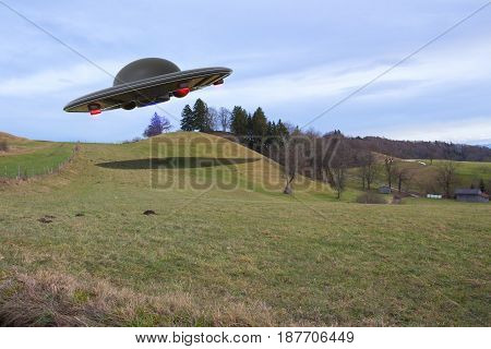 An unidentified flying object (ufo 3d rendering)