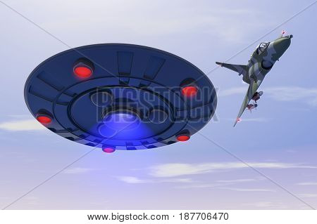 A combat jet hits at ufo (3d rendering)