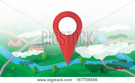 Suburban map with houses with car, trees, road, river, mountain, sky and clouds. Red route pin. GPS and navigation. Village. Vector illustration in flat style