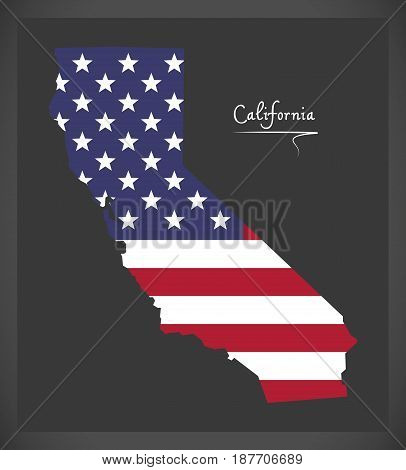 California Map With American National Flag Illustration