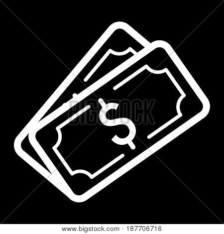 Money dollar vector icon. Black and white cash illustration. Outline linear banking icon. eps 10