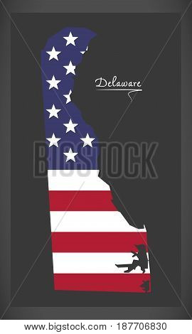 Delaware Map With American National Flag Illustration