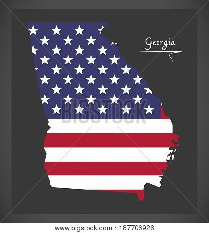 Georgia Map With American National Flag Illustration