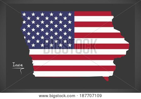 Iowa Map With American National Flag Illustration