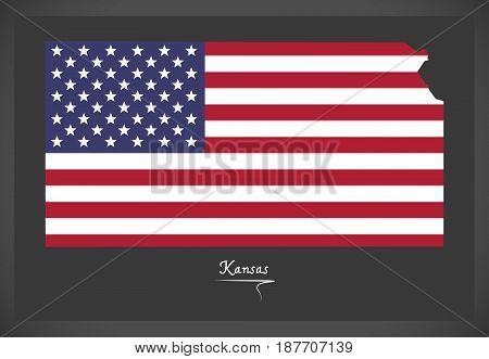 Kansas Map With American National Flag Illustration