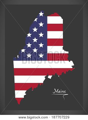 Maine Map With American National Flag Illustration