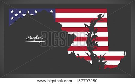 Maryland Map With American National Flag Illustration