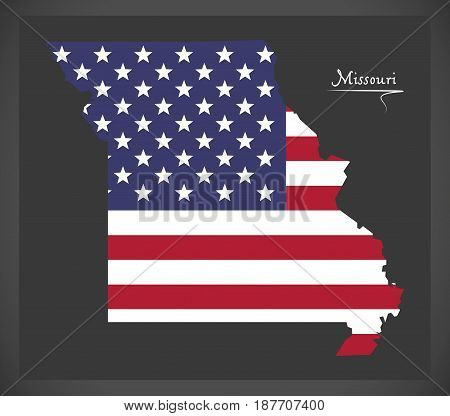 Missouri Map With American National Flag Illustration