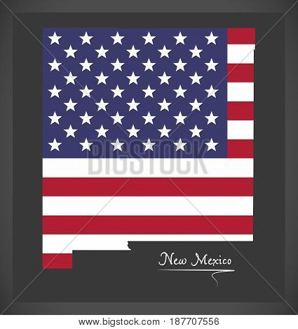 New Mexico Map With American National Flag Illustration